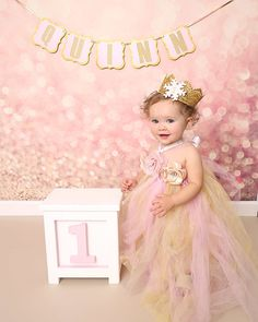 Pink and Gold Tutu Dress With Crown