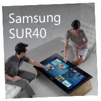 Samsungin näkemys hieman isommasta tabletista joka toimii pöytätasona. Näyttää olevan enemmän tv johon laitettu jalat :-)