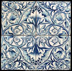Floral tile, by William Morris (1834-96). Tin-glazed earthenware. England, 1875.