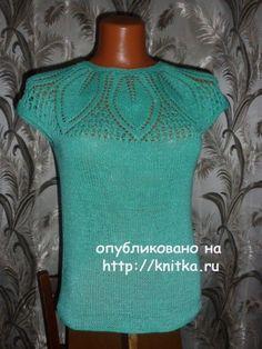 Летний топ спицами – работа Марины, Вязание для женщин Summer Knitting, Graphic Tank, Crochet Top, Pullover, Tank Tops, Jackets, Dresses, Women, Diy