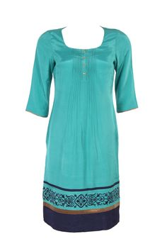 Blue Solid Kurta In Shantung; Deep U Neck; Quarter Sleeve; Embroidery At The Bottom; 40 Inches In Length #Wishful #Clothing #Fashion #Style #Kurta #Wear #Colors #Apparel #Semiformal #Print #Casuals #W for #Woman