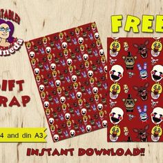 FREE Printable FNAF 5 Nights at Freddys Gift Wrap (Two Sizes)
