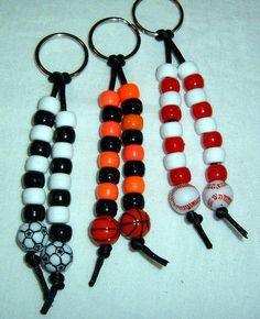 """Key chain-We made an """"upscale"""" version of this for our mom's group using glass beads silver beads key ring/lanyard hook clear elastic jewelry string and clear nail polish. Each color used was symbolic of """"mom"""" with a cute poem going along with the craft. Soccer Crafts, Vbs Crafts, Camping Crafts, Bible School Crafts, Fathers Day Crafts, Pony Bead Crafts, Pony Bead Projects, Beaded Crafts, Diy Jewelry"""