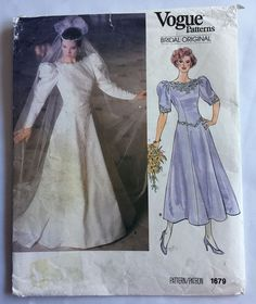 1986 Vintage Wedding Dress Sewing Pattern Vogue 1679 Size 12 Bridesmaid Evening #Vogue #WeddingDress
