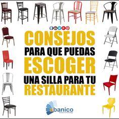 Abanico te brinda algunos consejos para comprar tu silla de restaurante y/o cafetería: - Planifica tu presupuesto - Toma en cuenta el área (interior/exterior) - Ten en cuenta las medidas. Deberás medir la habitación y la mesa del comedor - Que sean fáciles de limpiar y mantener - Piensa en el material que quieres - Escoger el diseño ¡Ven y visítanos! Contáctanos al tel. 2440-1607