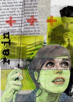 """""""jour de pluie"""" mixed media on paper"""