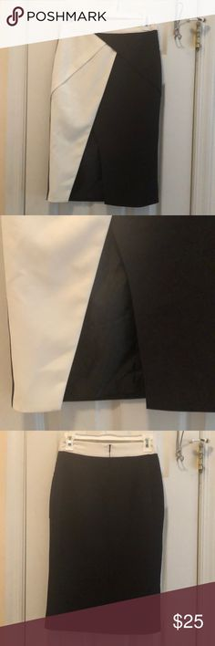 Blush Boutique black and white pencil skirt Blush Boutique black and white pencil skirt, size small. The front is black and white and the back is solid black. There is a front slit, as pictured above. I bought this at a Blush Boutique in Nashville. Super cute and brand new without tags. Sadly I've never been able to fit into it quite right, my hips are too big. I am usually a size 4, but this small would fit more like a 0 or 2. Blush Skirts Pencil
