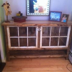 Reclaimed wood sideboard with recycled windows. I like the idea of using old windows for doors. Recycled Door, Recycled Windows, Repurposed Wood, Old Windows, Repurposed Items, Repurposed Furniture, Reclaimed Windows, Salvaged Wood, Repurposed Shutters