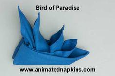 Bird of Paradise w VIDEO  Animated Napkins by Grog - watch them fold!