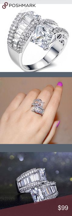 925 Silver rochester no with White clear Sapphire Beautiful 925 Silver cocktail ring with white clear Sapphire stones. Classy and elegant. Jewelry Rings