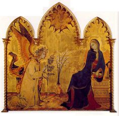 Simone Martini, Annunciazione e deu Santi, 1333, Galleria degli Uffizi, Firenze - dettaglio