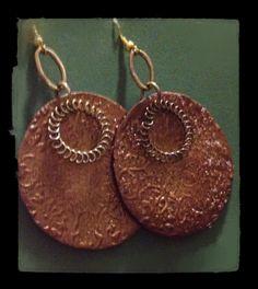 #orecchini #polymerclay #marrone #oro #utee