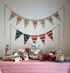 Vintage Boy Americana First Birthday Party - Heather G. Young I could totally make this girlie for Kiernan Boys First Birthday Party Ideas, Baby Boy First Birthday, Blue Birthday, Vintage Birthday, Boy Birthday Parties, 16th Birthday, Birthday Uncle, Birthday Fun, All American Boy