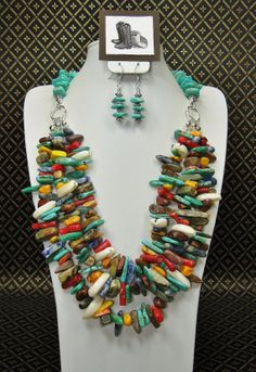 TRIPLE STRAND MULTICOLOR Statement by CayaCowgirlCreations on Etsy, $75.00