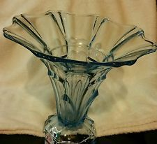 Beautiful Vintage Translucent Blue Tall Art Deco Glass Vase
