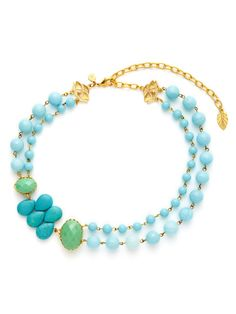 Dyed Turquoise Jade Cluster & Light Blue Quartz Double Strand Necklace by David Aubrey on Gilt.com