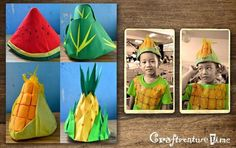 Craftventure Time: DIY Fruit and Veggies Hats from Paper Boat Part I Vegetable Costumes, Vegetable Crafts, Paper Hat Diy, Paper Crafts, Fruit Costumes, Diy Costumes, Costume Ideas, Nutrition Month Costume, Diy For Kids