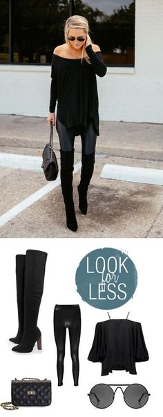 get the look for less! zoe leather look leggings, over the knee boots, off the shoulder top