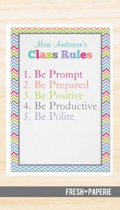 Customizable Class Rules Poster #backtoschool #chevron
