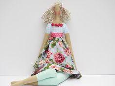 Fabric doll blue pink flowers blonde cloth por HappyDollsByLesya