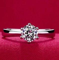 包邮正品925纯银镀白金镶嵌进口锆石带钻戒指女求婚戒指6爪银饰
