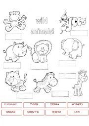 English worksheet: WILD ANIMALS 1