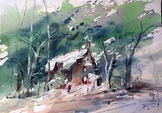 Z.L.Feng Watercolor Art, Art Painting, Urban Sketching, Fine Art, Oriental Art, Tree Painting, Painting, Art, Master Watercolor