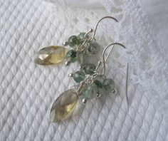 925 Champagner kwarts Mos agaat oorbellen zilver van Juan.del.Rio.Designs op DaWanda.com