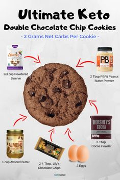 This recipe for keto double chocolate chip cookies is super low carb and will satisfy even the most discerning sweet tooth. 2 grams net carbs per cookie! Low Carb Sweets, Low Carb Desserts, Healthy Desserts, Low Carb Recipes, Dessert Recipes, Ketogenic Recipes, Cookie Recipes, Healthy Food, Double Chocolate Chip Cookies