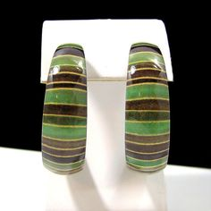 Beautiful Enamel Pierced Earrings Half Hoops Shades of Green Vintage Retro NICE!