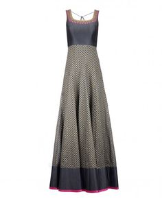Slate Gray Anarkali Suit with Sequins - Sawan Gandhi - Designers