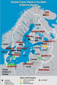Map of the nuclear power plants around the Baltic Sea