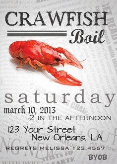 Crawfish Boil Party Invitation Annual Lobster by SprinkledDesign