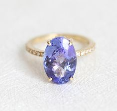 Tanzanire Ring December Birthstone Ring Tanzanite Diamond