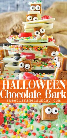 Halloween Bark is cute halloween food and super easy to make! #recipe #halloween #candy #chocolate #halloweencandy #trickortreat @sweetcaramelsunday