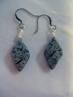 Simulated Granite Diamond Wire Wrapped Granite Earrings Polymer Clay | Wyverndesigns - Jewelry on ArtFire