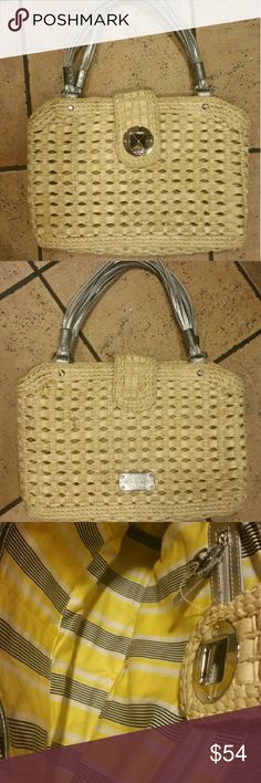 Kate Spade Lexington Straw Leather Shoulder Bag Kate Spade Lexington Square  Woven Leather Trim Shoulder Bag. This bag has been used and shows signs of use inside and out. Please see pics.  Great bag for any season! kate spade Bags Shoulder Bags