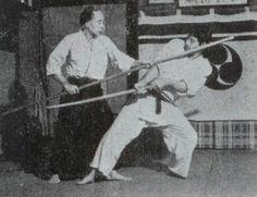 "Yukiyoshi Sagawa demonstrates the spear - from the blog post ""Aiki is Love, isn't it? Aiki isn't Love, is it? - Morihei Ueshiba and Aiki, both Technical and Spiritual"": http://www.aikidosangenkai.org/blog/archive/2013-05-12/aiki-is-love-isnt-it-aiki-isnt-love-is-it"