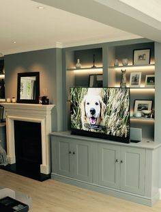 contemporary-media-unit-with-led-strip-lighting - ALL ABOUT Alcove Ideas Living Room, Built In Shelves Living Room, Living Room Wall Units, Living Room Storage, New Living Room, Living Room Lighting, Home And Living, Living Room Designs, Living Room Decor