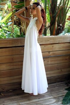 I like this nightgown as well. looks simple to make if I don't like the price. And i could layer sheer fabric to make it less seethrough Wedding Lingerie 100% Cotton White Nightgown Lace Backless Halter Romantic Bridal Night Gown Bridal Lingerie Summer Colors