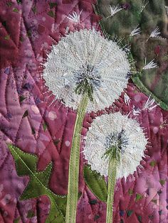 Dandelion seeds art quilt