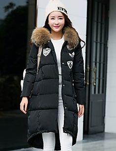 Casual/hétköznapi / Nagy méretek Egyszerű Kabát-Női Egyszínű Hosszú Sportos kabátok Poliészter Fehér kacsapehely Kapucni Hosszú ujjFekete – EUR € 58.79