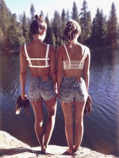 Open back crop tops with high waisted shorts!