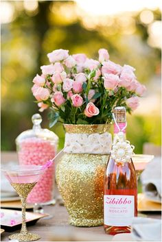 table settings, pink roses, rehearsal dinners, centerpiec, dinner parties, glitter, garden, flower, bridal showers