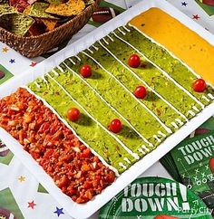 Recipe For Football Party Dip - This edible football field matches the one on the TV screen! Now with a Recipe!