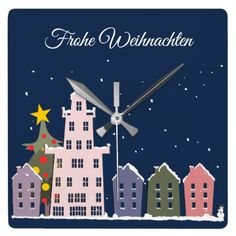 In my small city is Christmas Square Wall Clock  $40.65  by deutschsprachig  - cyo diy customize personalize unique