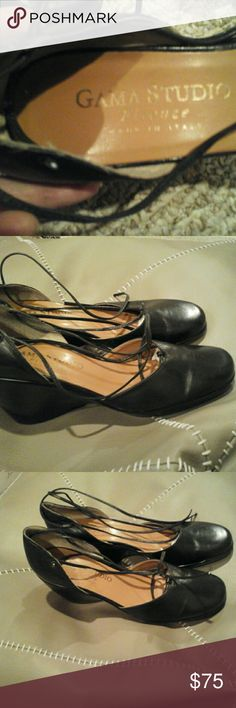 ITALY  Firenze Studio  Black Leather Wedges 7.5 New,  Italian Brand Firenze known for its quality products.  Black Leather Wedges,  Sz  7.5M Firenze  Shoes Wedges