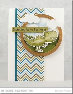 Stamps: Delightful Dinosaurs Die-namics: Delightful Dinosaurs, Single Stitch Line Circle Frames, Puffy Clouds, Grassy Hills Stencils: Mini Cloud Edges Barbara Anders Dinosaur Cards, Stitch Lines, Mft Stamps, Marianne Design, Copics, Masculine Cards, Kids Cards, Homemade Cards, Note Cards