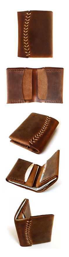 Baseball stitch leather wallet by AtelierPALL.com