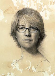 Self Portrait • Charcoal and white chalk on toned paper